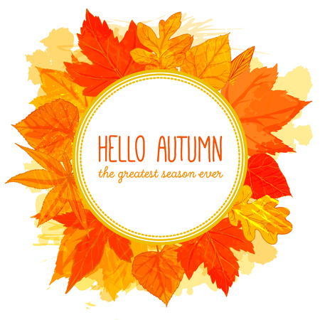 watercolor technique: Autumn round frame with hand drawn golden leaves. Hello autumn banner. Fall design for advertisement, greeting cards and social media content. Vector imitation of watercolor technique. Illustration