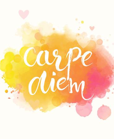 Carpe diem - Latijnse uitdrukking betekent pluk de dag, geniet van het moment. Inspirational citaat expressieve handgeschreven met borstel op kleurrijke aquarel imitatie textuur achtergrond Vector kalligrafie art. Stock Illustratie