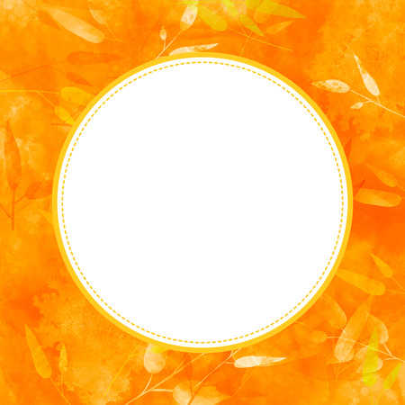 Blank round frame at orange autumn leaves background. Fall texture with golden leaf Stock Photo