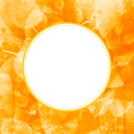 fall leaves background: Blank round frame at orange autumn leaves background. Fall texture with golden leaf Stock Photo