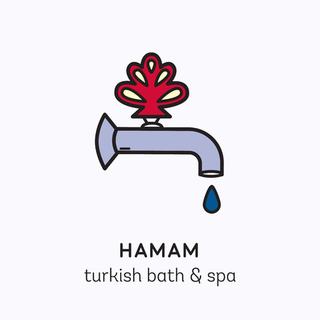 turkish: Vector logo line art icon for hamam - turkish bath or spa center. Illustration of orient tap with drop of water