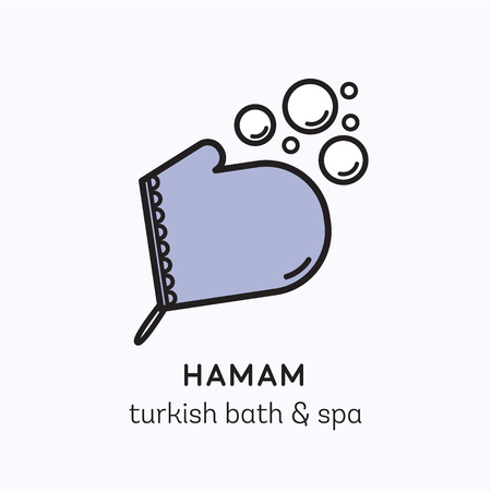 Vector logo line icon d'art pour hamam - bain turc ou un centre de spa. Illustration de moufle kese avec des bulles de mousse