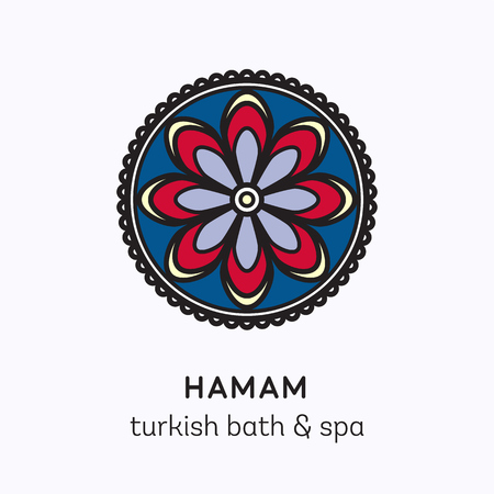 aroma: Islamic flower round ornament. Vector logo line art icon for hamam - turkish bath or spa center. Illustration