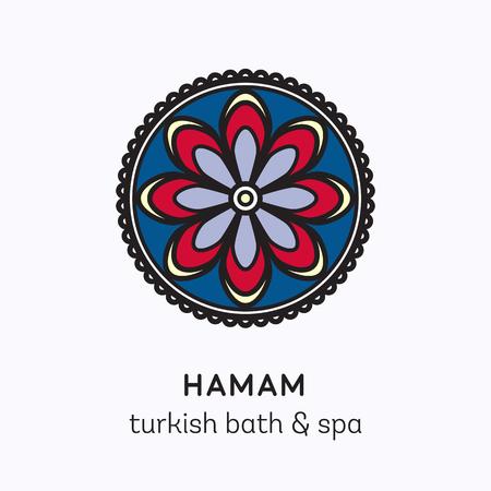 turkish bath: Islamic flower round ornament. Vector logo line art icon for hamam - turkish bath or spa center. Illustration