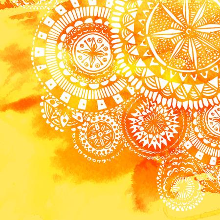 흰색 손으로 그린 라운드 낙서와 만다라 노란색 수채화 페인트 배경입니다. 배경의 벡터 디자인