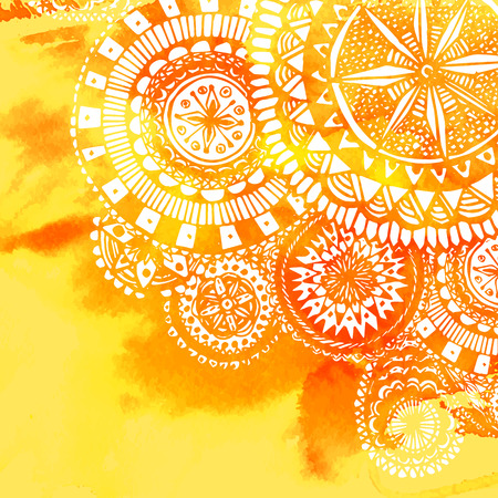 mandalas: Yellow watercolor paint background with white hand drawn round doodles and mandalas. Vector design of backdrop