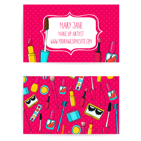 Colorful make up artist business card template. Vector layout with hand drawn illustrations of nail polish tube, makeup brush, eyeliner, lipstick and palette.