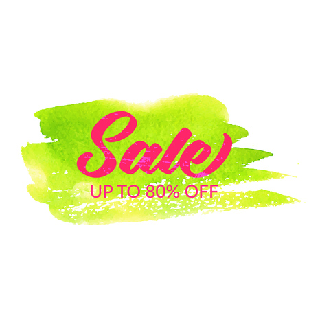 green banner: Sale banner. Pink text on green paint stroke Illustration