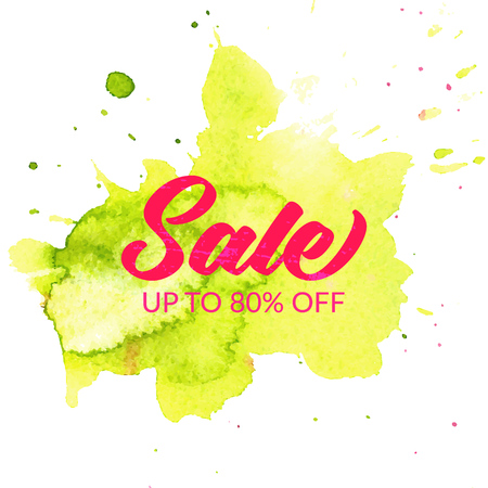 green paint: Sale banner. Pink text on green paint stroke Illustration