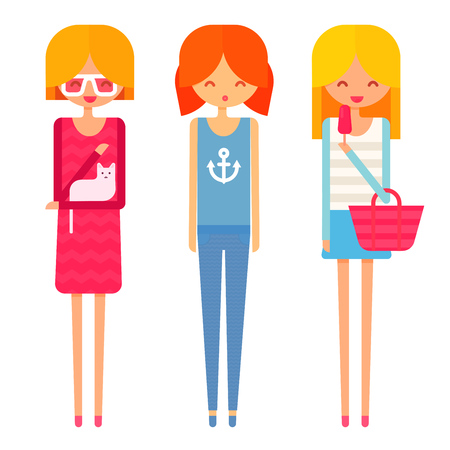 jeans skirt: Three happy young girls in dress, jeans, top and skirt. Cute flat character illustration.