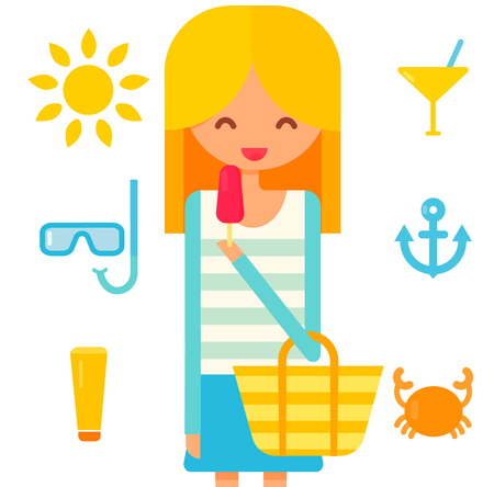 young: Cute blonde girl eats pink icecream. Summer vector icons: sun, diving mask, cream tube, cocktail and crab. Flat illustration.