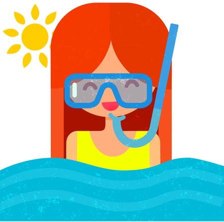 Happy girl in diving mask with snorkel. Swimming in blue water. Summer flat vector illustration with cute character.