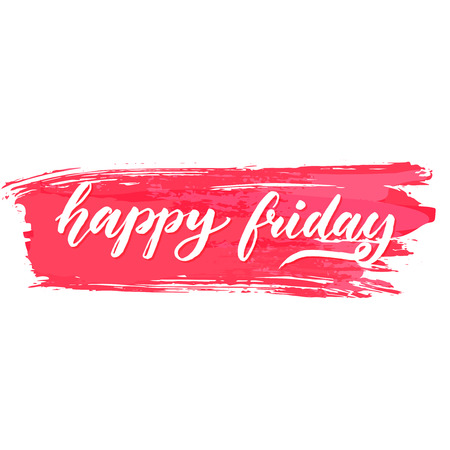 working week: Happy friday text on pink brush stroke. Positive saying about end of the working week. Vector brush lettering for cards, posters and social media content.
