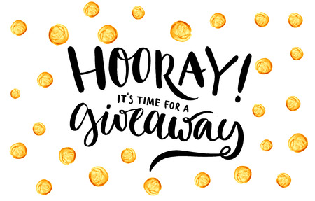 Giveaway banner for social media contests and special offer. Vector hand lettering at gold dots confetti background. Modern calligraphy style. Vettoriali