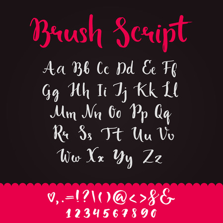 scripts: Brush script with lowercase and uppercase letters, keystrokes and digits. Full alphabet handwritten with brushpen. Vector calligraphic english abc