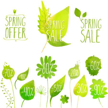 봄 판매 벡터 녹색 요소, 라벨 및 배지. 손 수채화 식물, 나뭇 가지, 나뭇잎 그렸다.