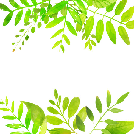 Spring frame with bright green leaves. Vector watercolor illustration. Backdrop for seasonal sales, promo, announcements, etc. Vectores