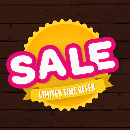 swashes: Text sale, limited time only on the big yellow badge at wooden planks background. Vector advertising banner vintage design.