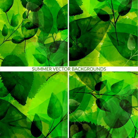 multiply: green foliage backgrounds with leaves traces. Nature vector textures with multiply effect.