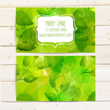 Nature creative business card template with artistic vector design. Green leaves with texture.