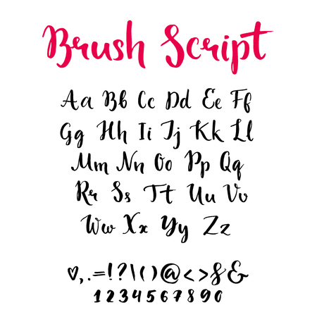 abc: Brush script with lowercase and uppercase letters, keystrokes and digits. Full alphabet handwritten with brushpen. Vector calligraphic english abc,