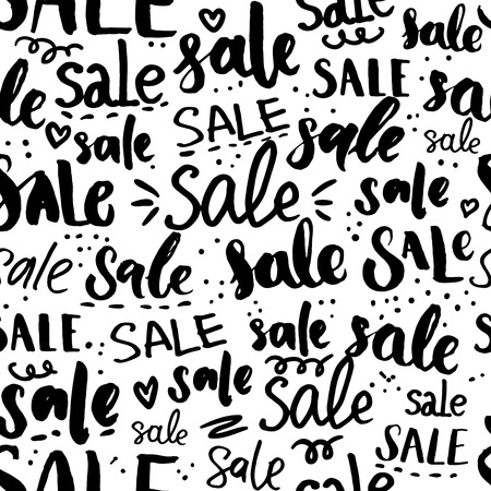 pr: Sale word pattern - hand drawn words and calligraphy, seamless texture for promo, commercial and special offers design. Black friday background. Handwritten backdrop for sales and clearance Illustration