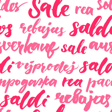 rea: Pink sale texture with handwritten text in different languages. Seamless pattern for promo and advertisement. Vector lettering background for package and shop window design