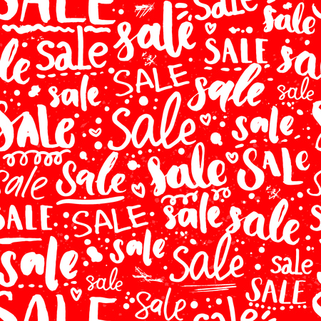pr: Red sale texture with handwritten text in different styles. Seamless pattern for promo and advertisement. Vector lettering background for package and shop window design Illustration