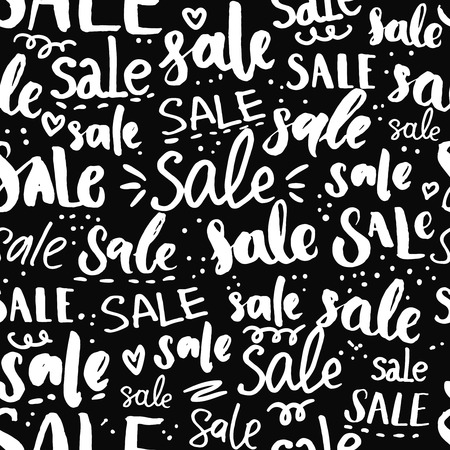 pr: Sale text pattern - hand drawn words and calligraphy, seamless texture for promo, commercial and special offers design. Black friday background. Handwritten backdrop