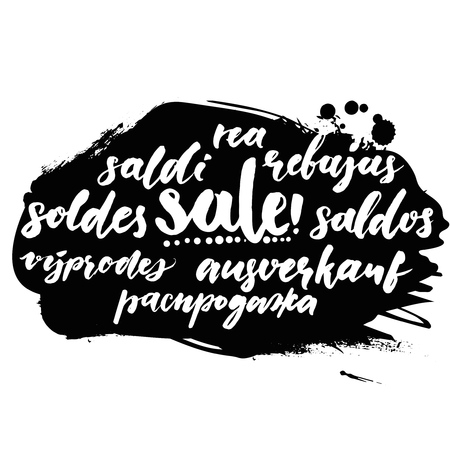 rea: Sale word in different european languages. Soldes, soldi, rebujas, saldos, ausverkauf and rea. Black friday banner with script calligraphy text. Illustration