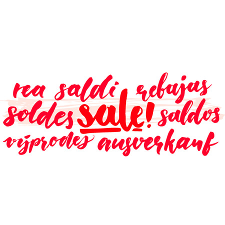 rea: Sale word in different european languages. Soldes, soldi, rebujas, saldos, ausverkauf and rea. Red clearance banner with script calligraphy text.