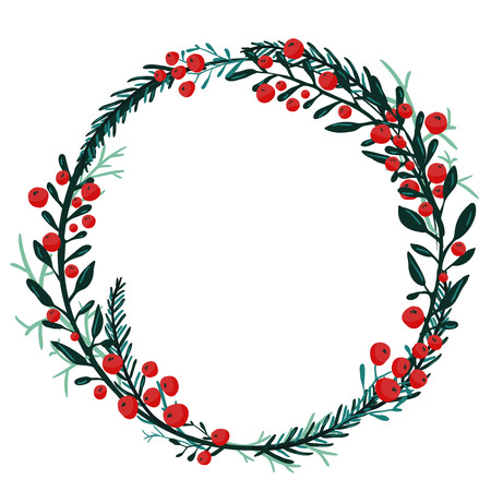 holly leaf: Hand drawn wreath with red berries and fir branches. Round frame for Christmas cards and winter design. Vector layout with copyspace
