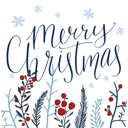 메리 크리스마스 텍스트와 붉은 열매와 떨어지는 눈과 손으로 그린 겨울 분기합니다. 펜촉 포인트 펜 현대 서예. 파란색과 빨간색 빈티지 색상. 벡