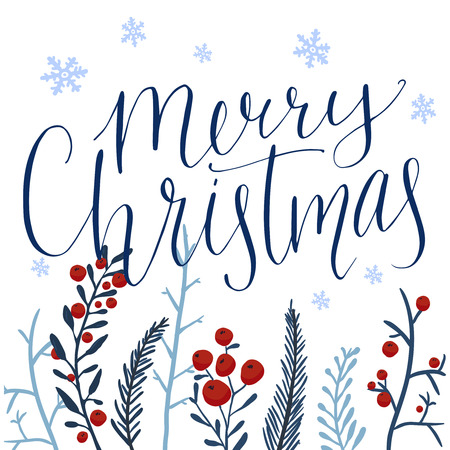 Merry Christmas Text And Hand Drawn Winter Branches With Red ...