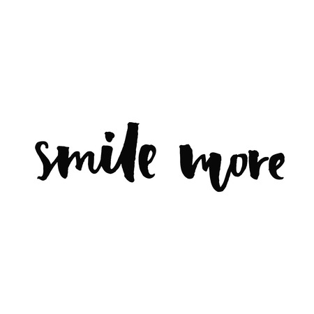 Smile more. Inspirational quote handwritten with black ink and brush, custom lettering for posters, t-shirts and cards. Vector calligraphy isolated on white background Vettoriali
