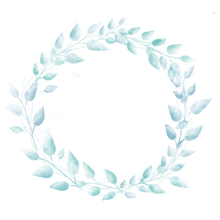 Pastel blue watercolor leaves wreath. Subtle hand drawn natural frame