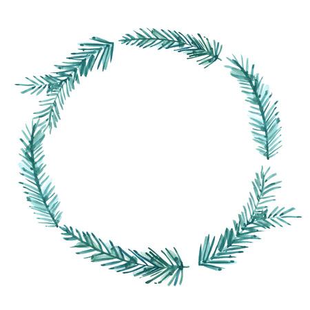sapin: Cadre de Noël, aquarelle couronne. Peint à la main des brindilles d'épinette et de branches. Nature inspirée frontière pour les cartes et les bannières d'hiver Banque d'images