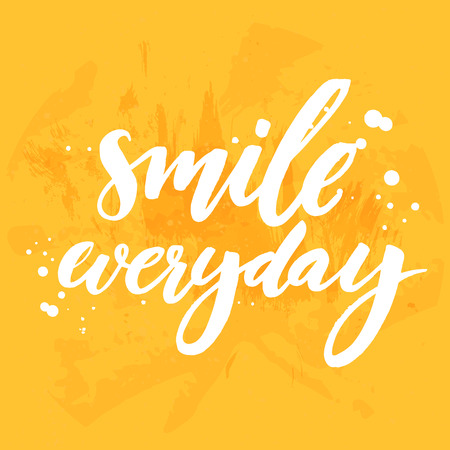 everyday: Smile everyday. Positive inspirational quote on yellow grunge background. Vector lettering for posters, cards and social media content Illustration