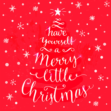 retro christmas: Have yourself a merry little Christmas. Whimsical modern calligraphy card with spruce shape. White typography at festive red background.