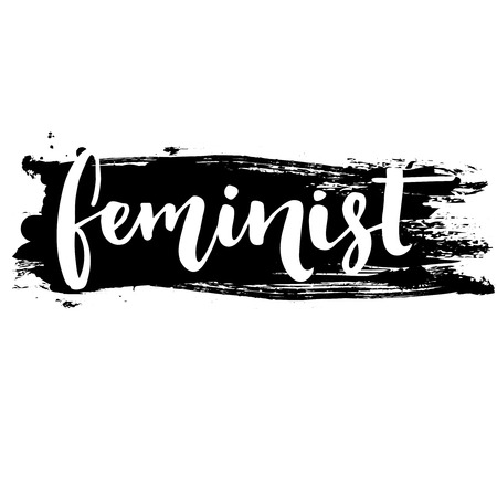 feminist: Feminist word, white inscription at black ink stroke. Vector lettering for posters and t shirts