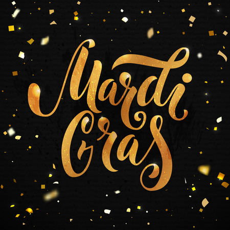 Mardi gras carnival poster design. Golden text with sparkle particles at black background. Hand lettering, vector type
