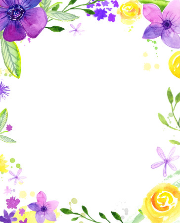 Watercolor floral frame with copy space. Hand painted loose flowers. Background for wedding and birthday cards, invitations, spring and summer sales