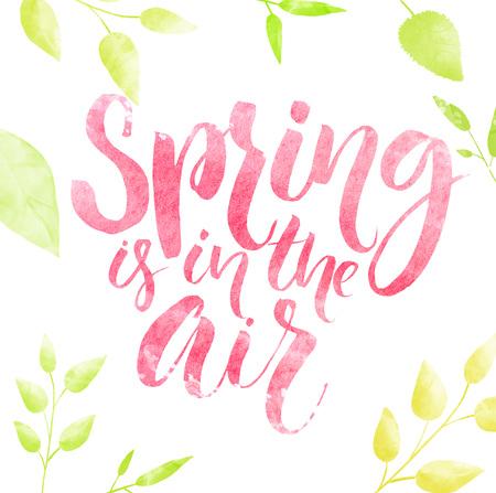 봄 녹색 잎 프레임의 공기 수채화 문자입니다.