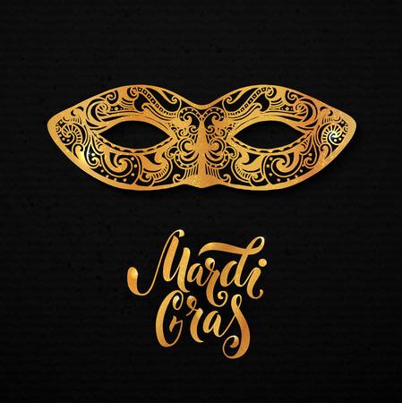 mardi gras mask: Mardi gras mask illustration. golden type at black paper background. Masquerade invitation design