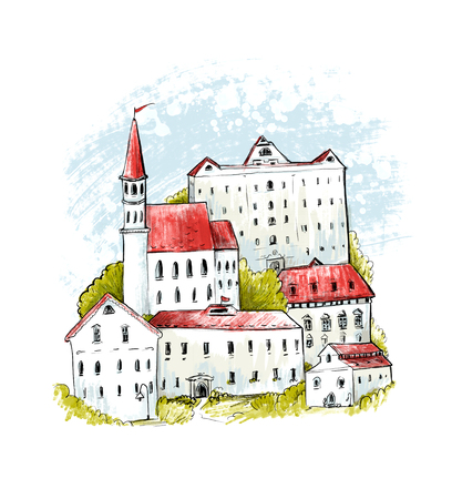 old town: Europe old town illustration. Houses with red roofs and green bushes. Medieval city on hill, sketch drawing