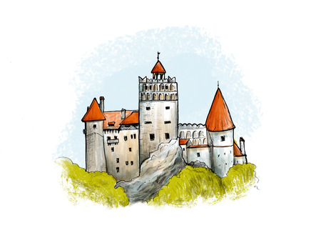 housetop: Bran castle colored drawing. Hand drawn illustration of famous fortress in Romania