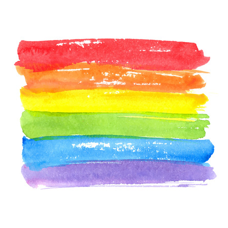 Rainbow texture, symbol of gay pride. Vector watercolor spectrum. Hand drawn paint strokes isolated on white background Illustration