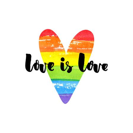 eslogan: El amor es el amor. Cita inspirada en corazón del arco iris. lema del orgullo gay, emblema de la homosexualidad