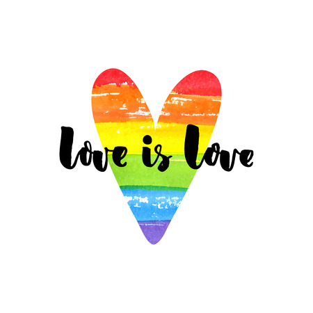 Love is love. Inspirational quote on rainbow heart. Gay pride slogan, homosexuality emblem Vettoriali