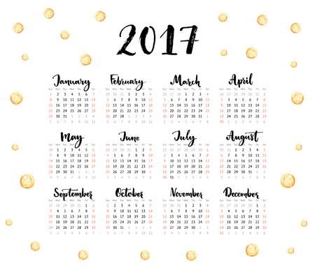 meses del año: Calendario 2017 años. La semana comienza el domingo. Una hoja con meses escritas a mano y puntos de oro. El diseño moderno del vector Vectores